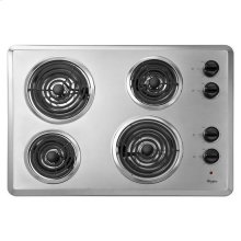 """Whirlpool® 30"""" Electric Cooktop with Dishwasher-Safe Knobs - Chrome"""