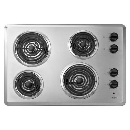 "Whirlpool® 30"" Electric Cooktop with Dishwasher-Safe Knobs - Chrome"
