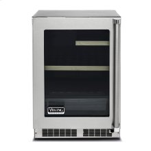 "24"" Glass Door Undercounter Refrigerator, Left Hinge/Right Handle"