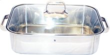 """Stainless Steel Roasting Pan with Glass Lid 10"""" x 16"""""""