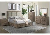1054 Urban Swag Queen Storage Bed with Dresser and Mirror