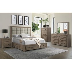 1054 Urban Swag King Storage Bed with Dresser and Mirror
