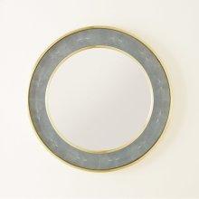 Round Shagreen Mirror-Ocean Blue