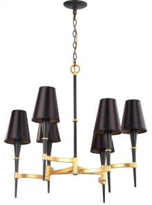 Alroy 3 Light 30-inch Dia Chandelier - Black / Gold Shade Color: Black