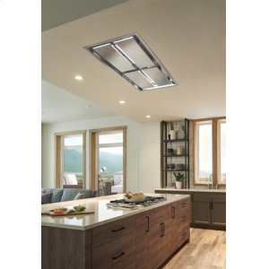 BestCirrus Grande 63 inch Brushed Stainless Steel Ceiling Mounted Range Hood with External Blower and LED Light
