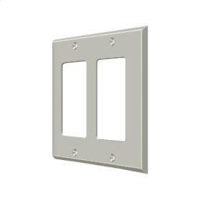 Switch Plate, Double Rocker - Brushed Nickel