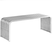 "Pipe 47"" Stainless Steel Bench in Silver"