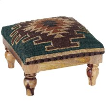 Blue & Brown Kilim Pattern Stool.