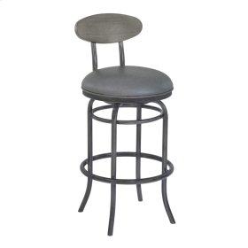 """Armen Living Davis 26"""" Counter Height Metal Swivel Barstool in Vintage Gray Faux Leather with Mineral Finish and Gray Walnut Wood Back"""