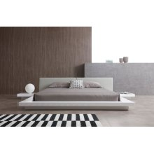 Modrest Opal Modern White & Grey Platform Bed
