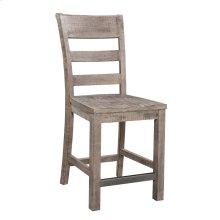 24'' Barstool-slat Back W/wood Seat-reclaimed Pine Finish