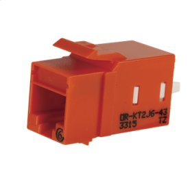 Category 6 Keystone Jack, Lacing Cap Termination, Orange