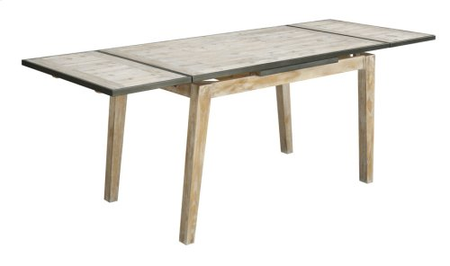 "Extension Gather Table W/18"" Ext Each End-sandstone Finish W/graphite Metal Trim"