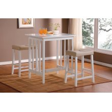 3-Piece Pack Counter Height Set, White