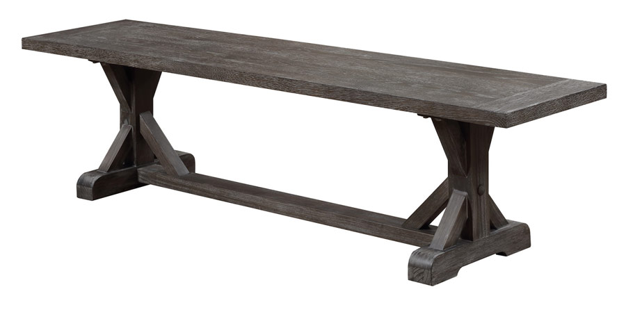 Wood Dining Bench Rustic Charcoal Rta Hidden