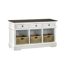 CC-CAB234TLD-WWRW  Cottage Sideboard  3 Baskets and Drawers  Two Tone White and Brown