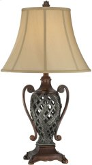 Table Lamp - Two Tone/tan Fabric Shade, E27 Type A 100w Product Image