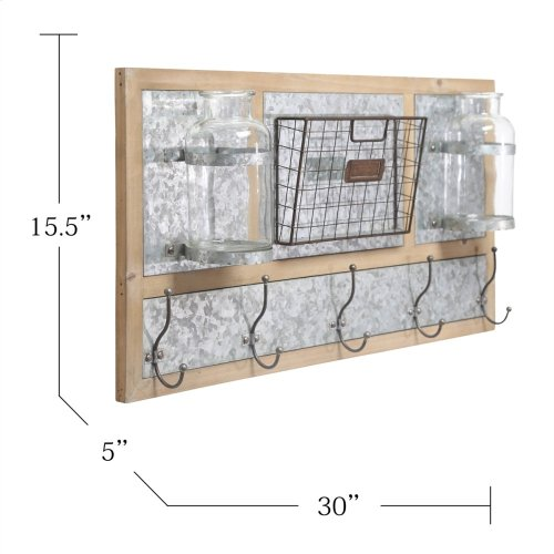 Wood/metal 5 Hook Wall Organizer