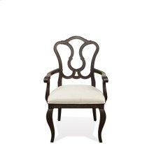 Verona Splat Back Upholstered Arm Chair Dark Sienna finish