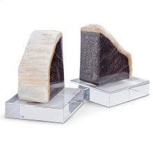 Petrified Wood Bookends On Crystal