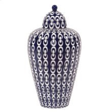 Navy Blue and White Textured Ceramic Urn with Lid, Large