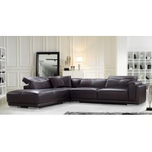 Divani Casa Adagio Modern Brown Leather Sectional Sofa