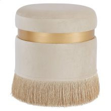 Suri Velvet Fabric Fringe Round Storage Ottoman, Serene Cream/ Gold *NEW*