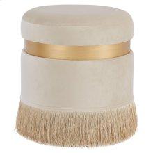 Suri Velvet Fabric Fringe Round Storage Ottoman, Serene Cream/ Gold *NEW*