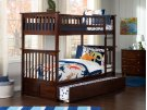 Columbia Bunk Bed Twin over Twin with Urban Trundle Bed in Walnut Product Image