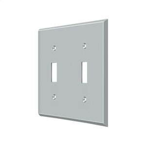 Switch Plate, Double Standard - Brushed Chrome