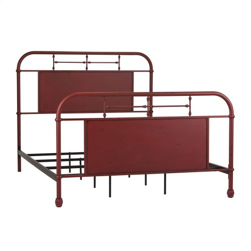 Twin Metal Bed - Red