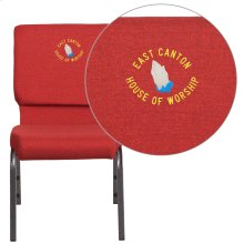 Embroidered HERCULES Series 18.5''W Red Fabric Stacking Church Chair with 4.25'' Thick Seat - Silver Vein Frame