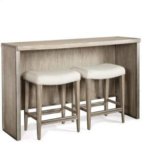 Sophie - Sofa Table With Backless Upholstered Stools - Natural Finish