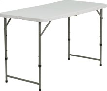 24''W x 48''L Height Adjustable Bi-Fold Granite White Plastic Folding Table