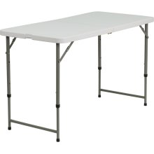 24''W x 48''L Height Adjustable Bi-Fold Granite White Plastic Folding Table