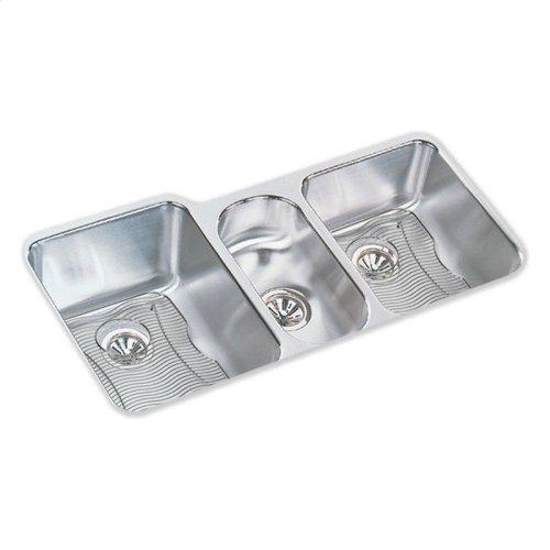 "Elkay Lustertone Classic Stainless Steel 40"" x 20-1/2"" x 9-7/8"", Triple Bowl Undermount Sink Kit"