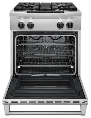 30'' 4-Burner Dual Fuel Freestanding Range, Commercial-Style - Stainless Steel