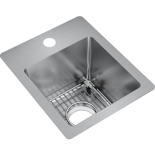 "Elkay Crosstown Stainless Steel 13"" x 16"" x 9"", Single Bowl Dual Mount Bar Sink Kit"