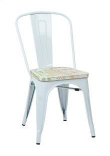 Bristow Metal Chair With Vintage Wood Seat,white Finish Frame & Pine Irish Finish Seat, 2-pack
