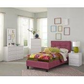 Pink Twin Upholstered Headboard & Slats