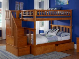 Columbia Staircase Bunk Bed Full over Full with Flat Panel Bed Drawers in Caramel Latte