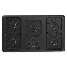 36-inch Gas Cooktop with Front Controls - black