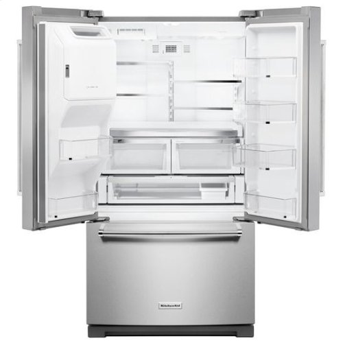 KitchenAid® 26.8 cu. ft. 36-Inch Width Standard Depth French Door Refrigerator with Exterior Ice and Water and PrintShield™ finish - PrintShield Stainless
