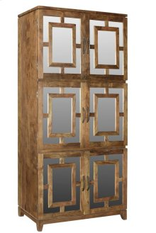 Bengal Manor Acacia Wood 6 Door Mirrored Tall Cabinet