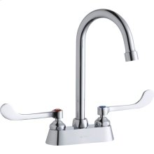 """Elkay 4"""" Centerset with Exposed Deck Faucet with 5"""" Gooseneck Spout 6"""" Wristblade Handles Chrome"""