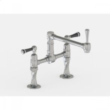 """Brushed Stainless - Deck Mount 8 7/8"""" Articulated Single Swivel Spout with Black Ceramic Lever"""