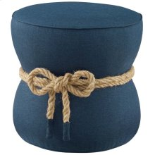 Beat Nautical Rope Upholstered Fabric Ottoman in Blue