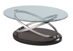 Emerald Home Vision Oval Cocktail Table W/glass Top Brown T7112-0