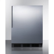 ADA Compliant All-refrigerator for Built-in General Purpose Use, Auto Defrost W/stainless Steel Wrapped Door, Thin Handle, and Black Cabinet