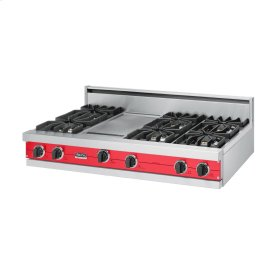 "Racing Red 48"" Sealed Burner Rangetop - VGRT (48"" wide, six burners 12"" wide griddle/simmer plate)"